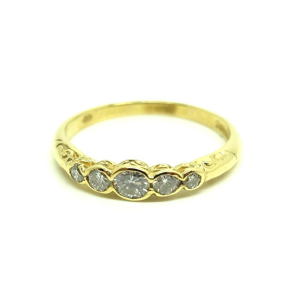 Vintage 1990s 18ct Diamond Five Stone Diamond Ring