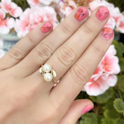 1990s Ring Vintage 1990s 9ct Gold Double Pearl Leaf Ring