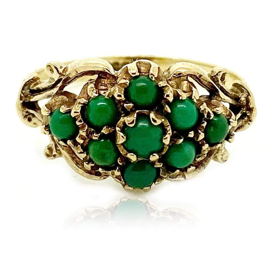1990s Ring Vintage 1990s Green Turquoise 9ct Gold Ring