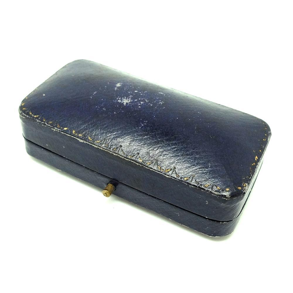 ANTIQUE Jewellery Box Antique Navy Blue Leather Brooch Jewellery Box