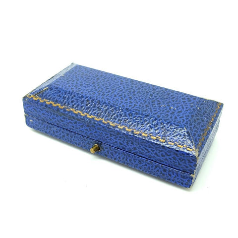 ANTIQUE Jewellery Box Antique Royal Blue Leather Jewellery Box
