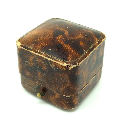 ANTIQUE Jewellery Box Antique Square Brown Leather Jewellery Box