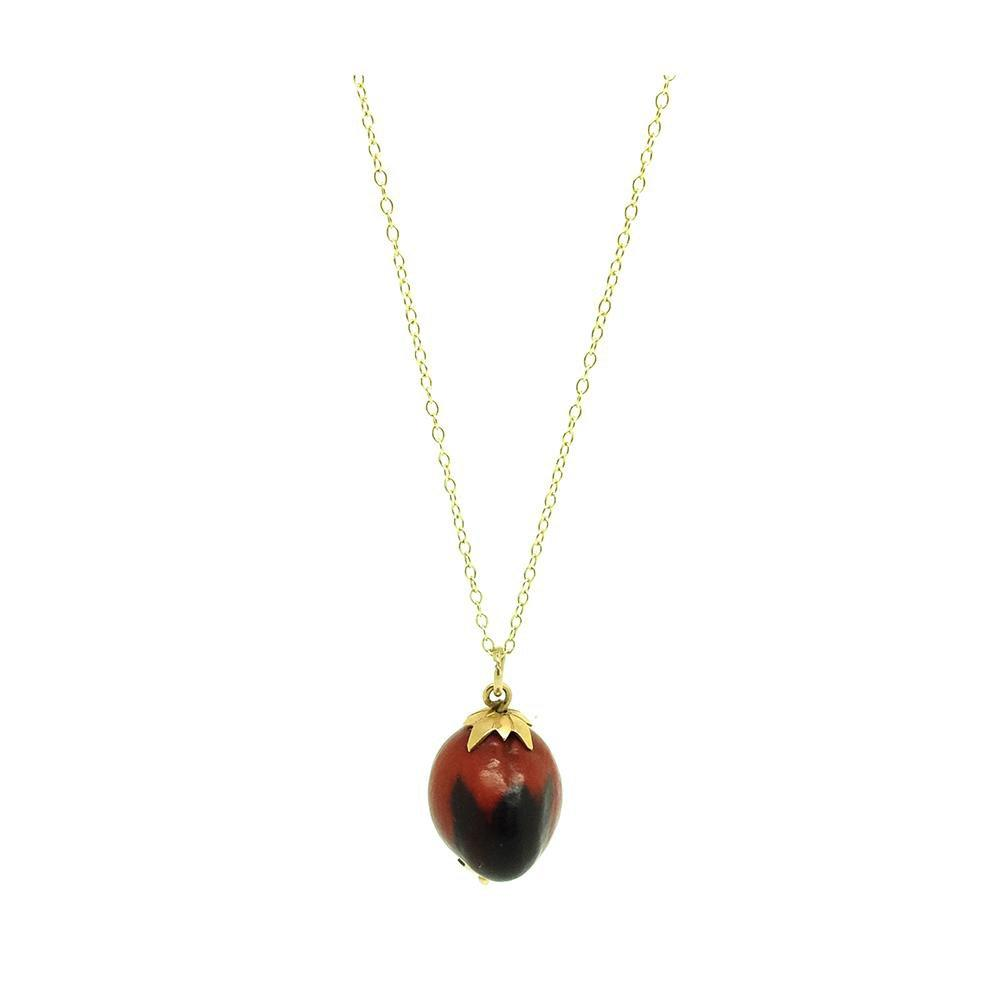 ANTIQUE Necklace Antique Red Seed Charm 9ct Gold Necklace
