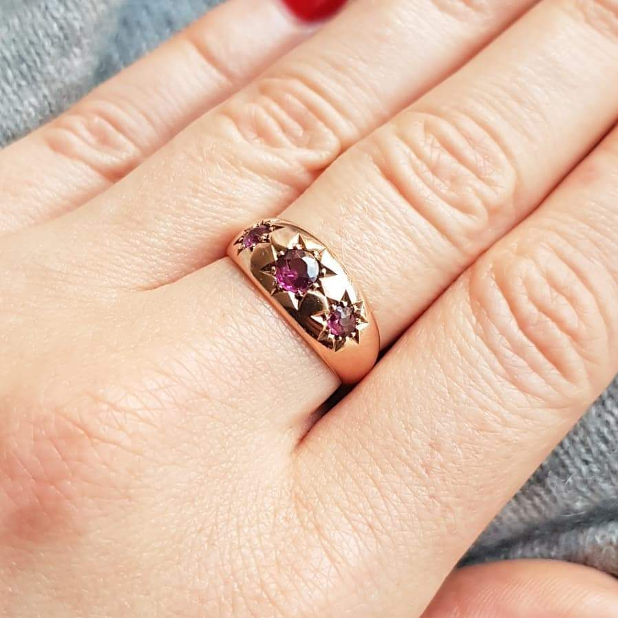 ANTIQUE Ring Antique 1915 9ct Rose Gold Star Celestial Gypsy Ring