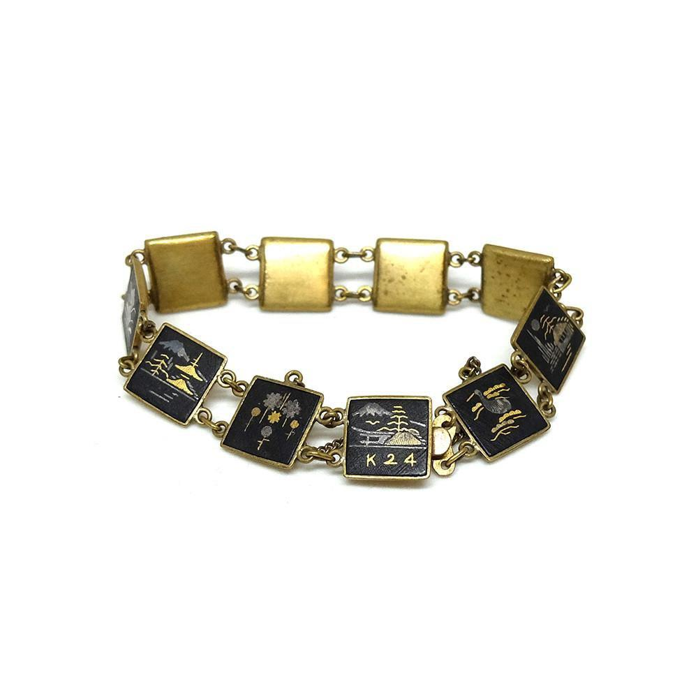 Vintage 1920's 24ct Gold Damascene Shakudo Japanese Bracelet