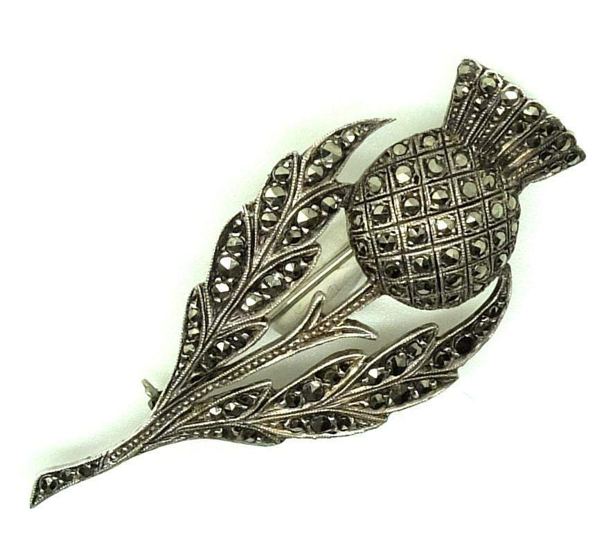 Art Deco Ciro Thistle Sterling Silver Brooch