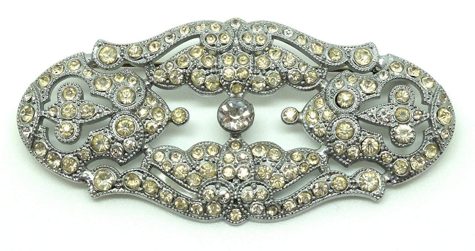 Vintage 1920s Art Deco Diamante Brooch