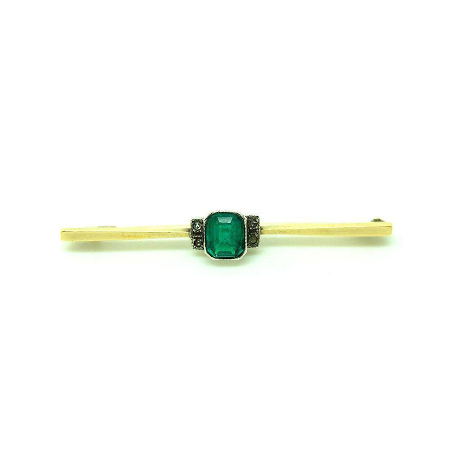 Vintage 1920s Art Deco Emerald Glass 9ct Gold Bar Brooch