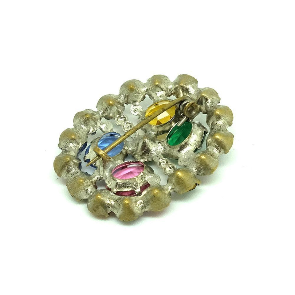 Vintage 1930's Art Deco Czech Coloured Glass Brooch