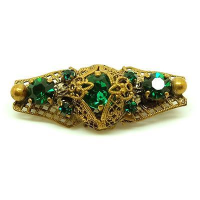 Vintage 1930s Czech emerald green bar brooch