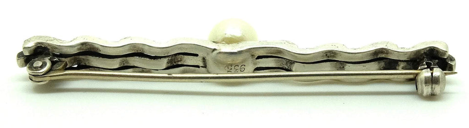 Vintage Art Deco 1920s Diamante Pearl Sterling Silver Bar Brooch