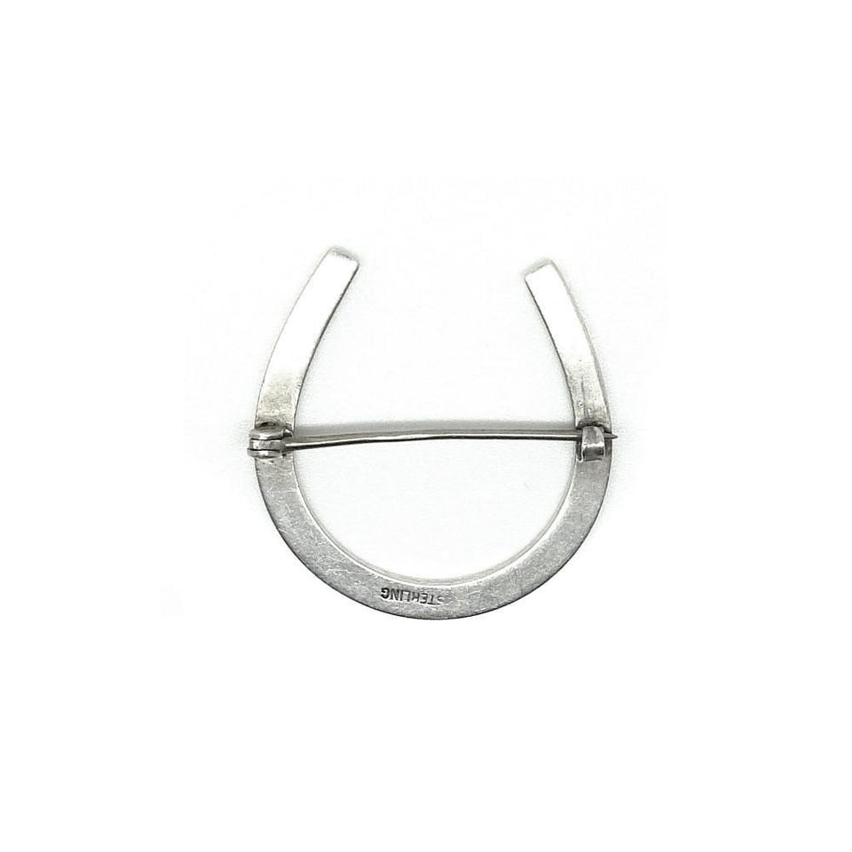 Vintage Art Deco 1920s Horseshoe Sterling Silver Brooch