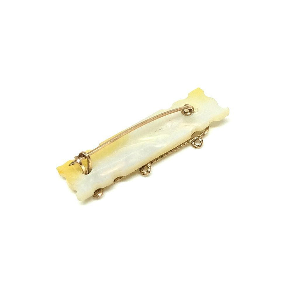 Vintage Art Deco 1930's Rolled Gold Mother of Pearl 'Mother' Brooch