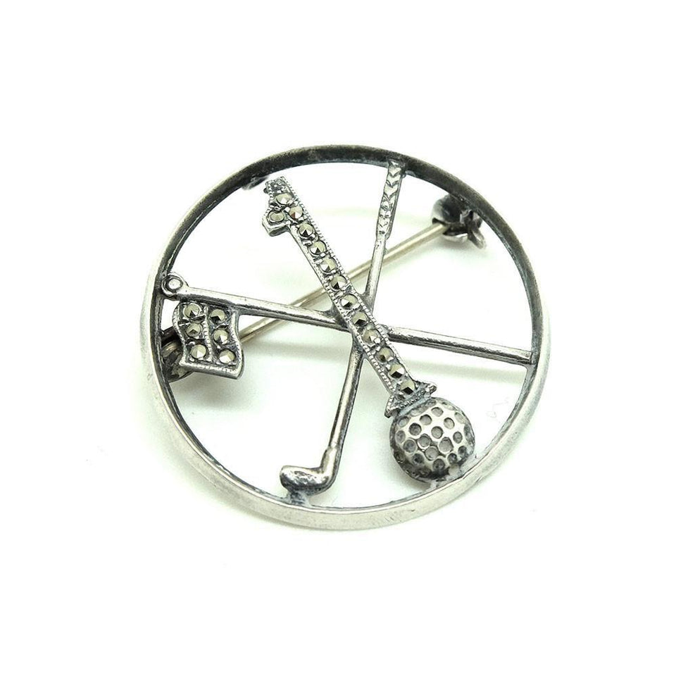 Vintage Art Deco 1930s Marcasite Golf Brooch Pin