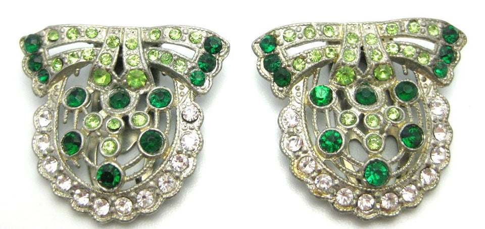 Vintage Art Deco 1930s Double Green Dress Clips