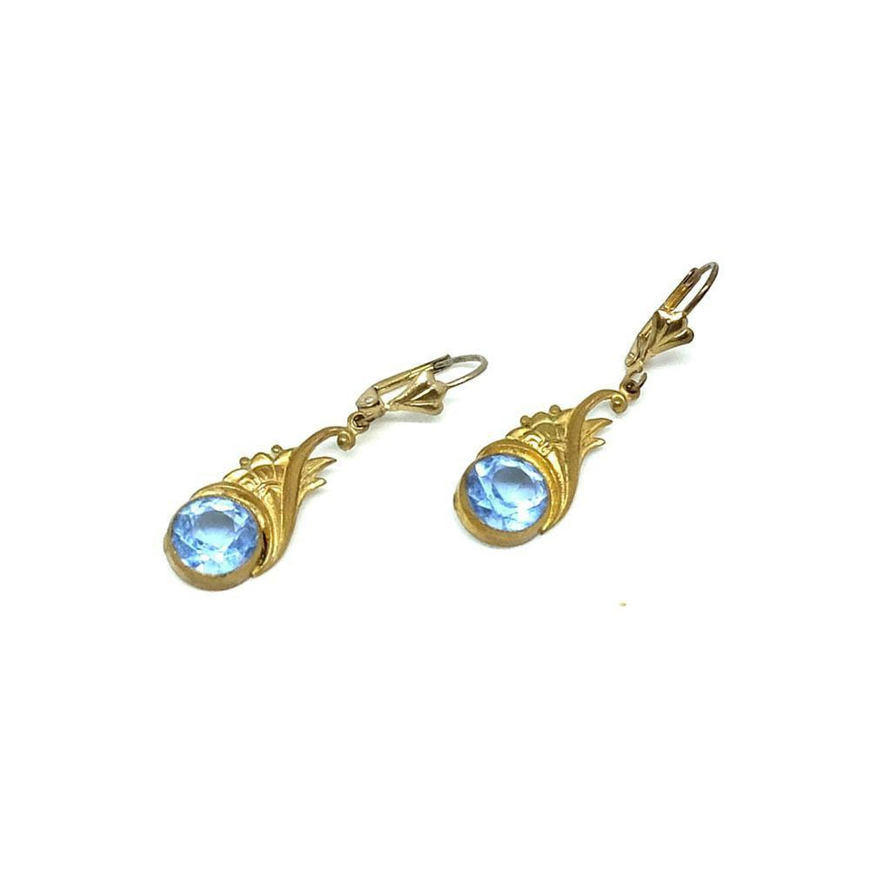Vintage 1930's Art Deco Blue Glass Drop Earrings