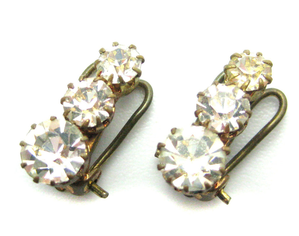 Vintage Art Deco 1930s Diamante Gold Clip Earrings