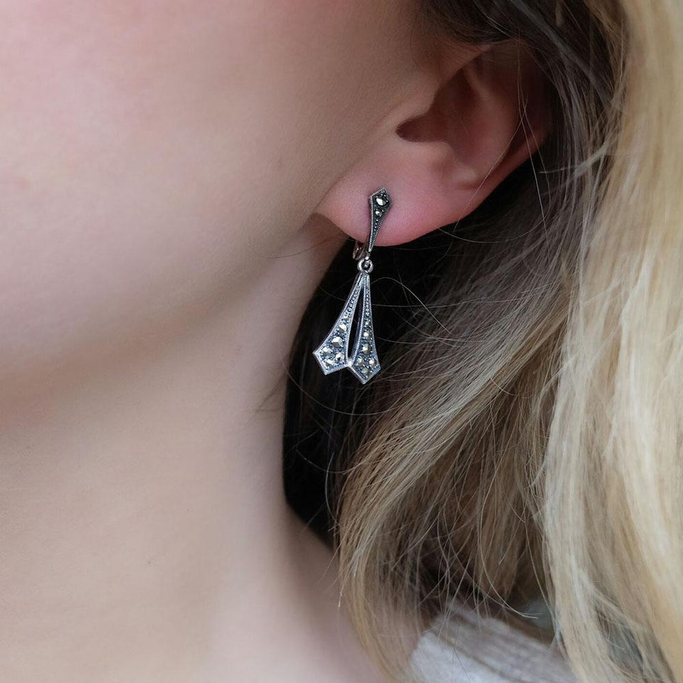 Vintage Art Deco 1930s Silver Marcasite Drop Earrings