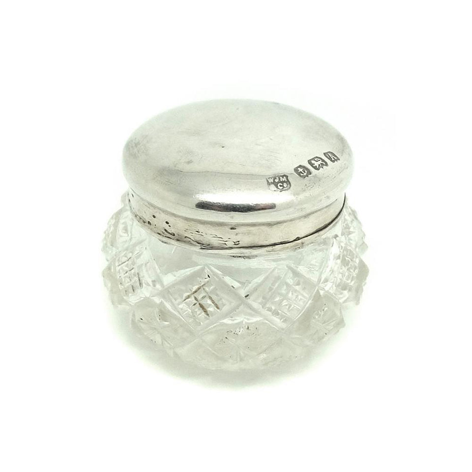 Art Deco 1925 Sterling Silver Glass Jewellery Box