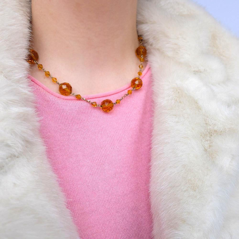 Vintage 1930's Amber Glass Rolled Gold Necklace