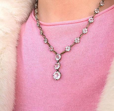 Vintage 1930's Art Deco Diamanté Drop Necklace