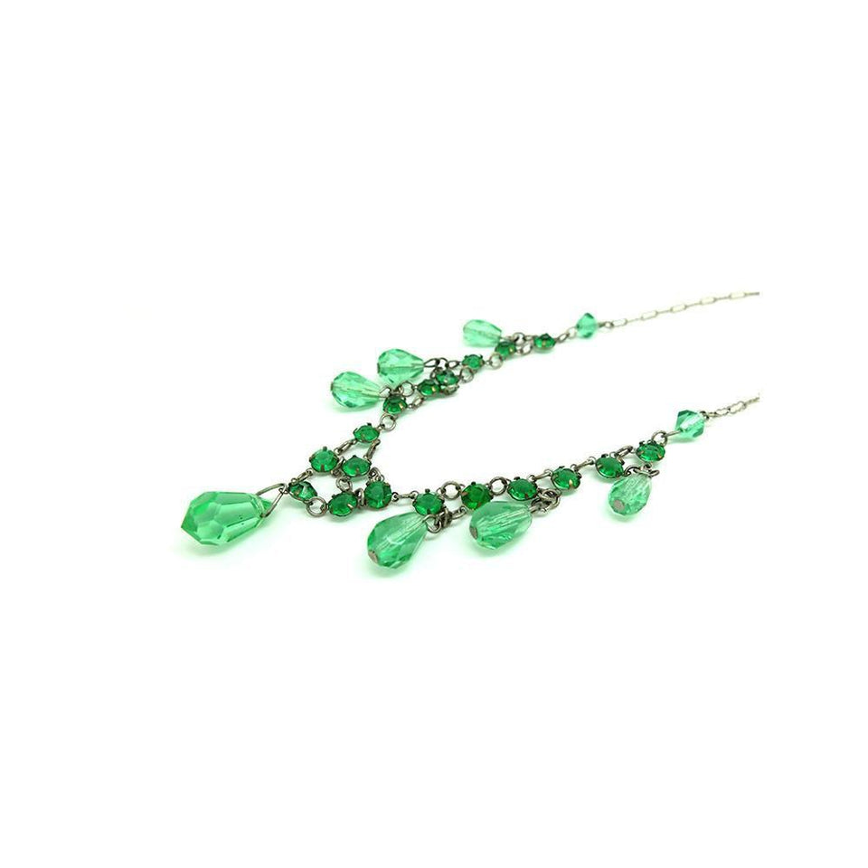 Vintage 1930's Art Deco Emerald Green Glass Necklace