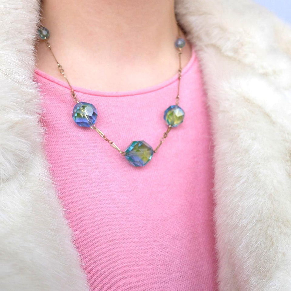 Vintage 1930's Rolled Gold Blue Green Necklace