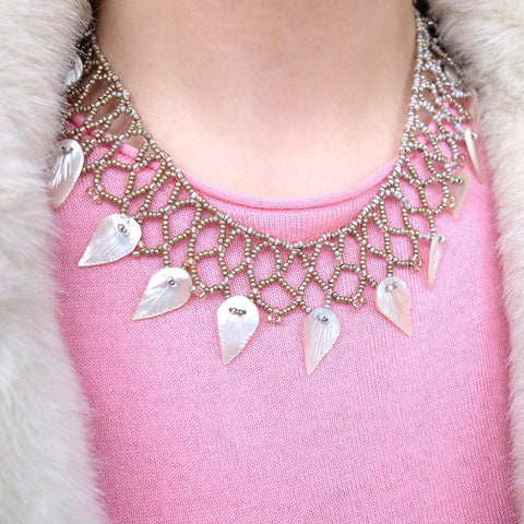Vintage 1930s Art Deco Mother of Pearl Beaded Bib Necklace