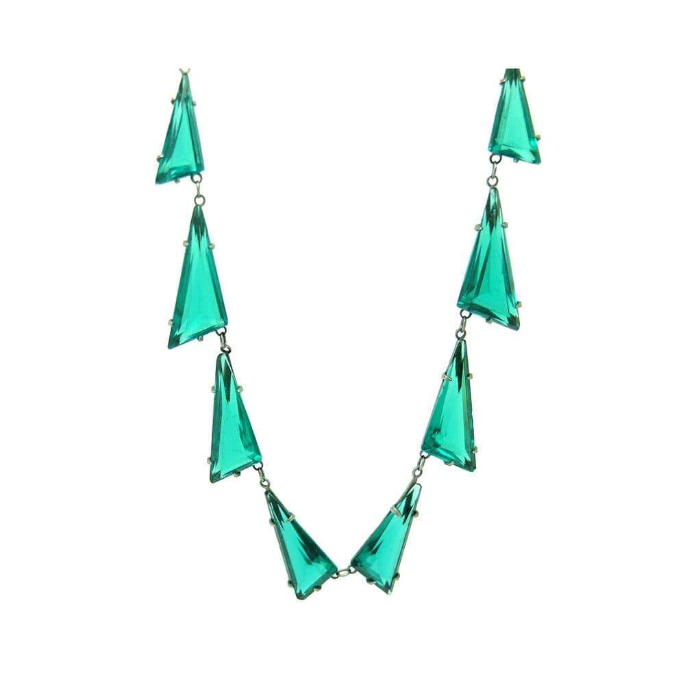 ART DECO Necklace Vintage 1930s Art Deco Statement Emerald Green Bohemian Necklace