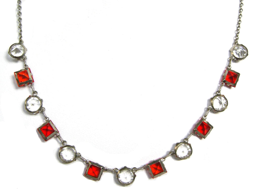 Vintage 1930s Red Cut Glass Necklace