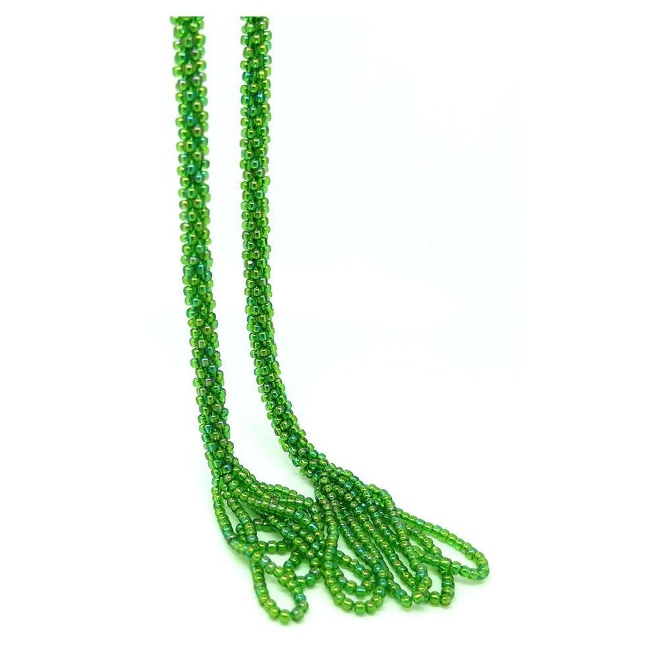 Vintage Art Deco 1920s Green Beaded Sautoir Lariat Necklace