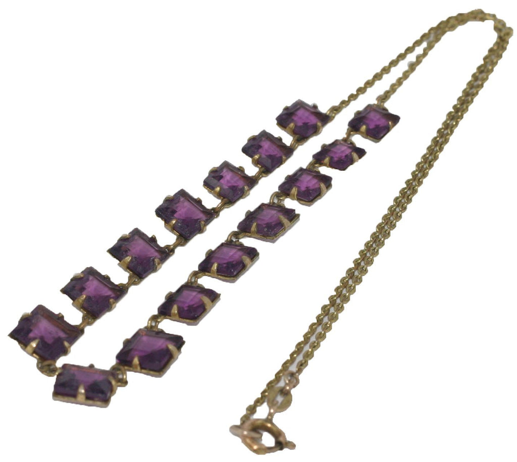 Vintage Art Deco 1920s Purple Glass Necklace