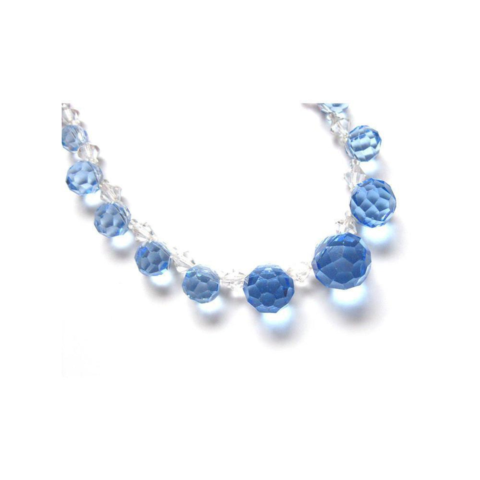 Vintage Art Deco 1930's Blue Glass Necklace