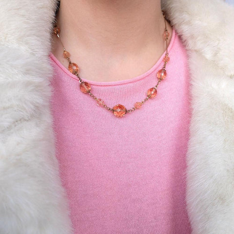 Vintage Art Deco 1930's Peach Pink Glass Rolled Gold Necklace
