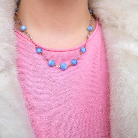 Vintage Art Deco 1930's Rolled Gold Blue Glass Necklace