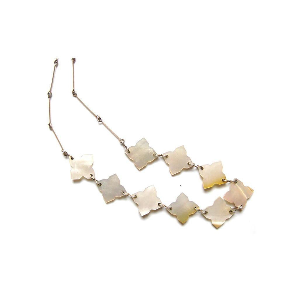 Vintage Art Deco 1930's Rolled Gold Mother of Pearl Necklace