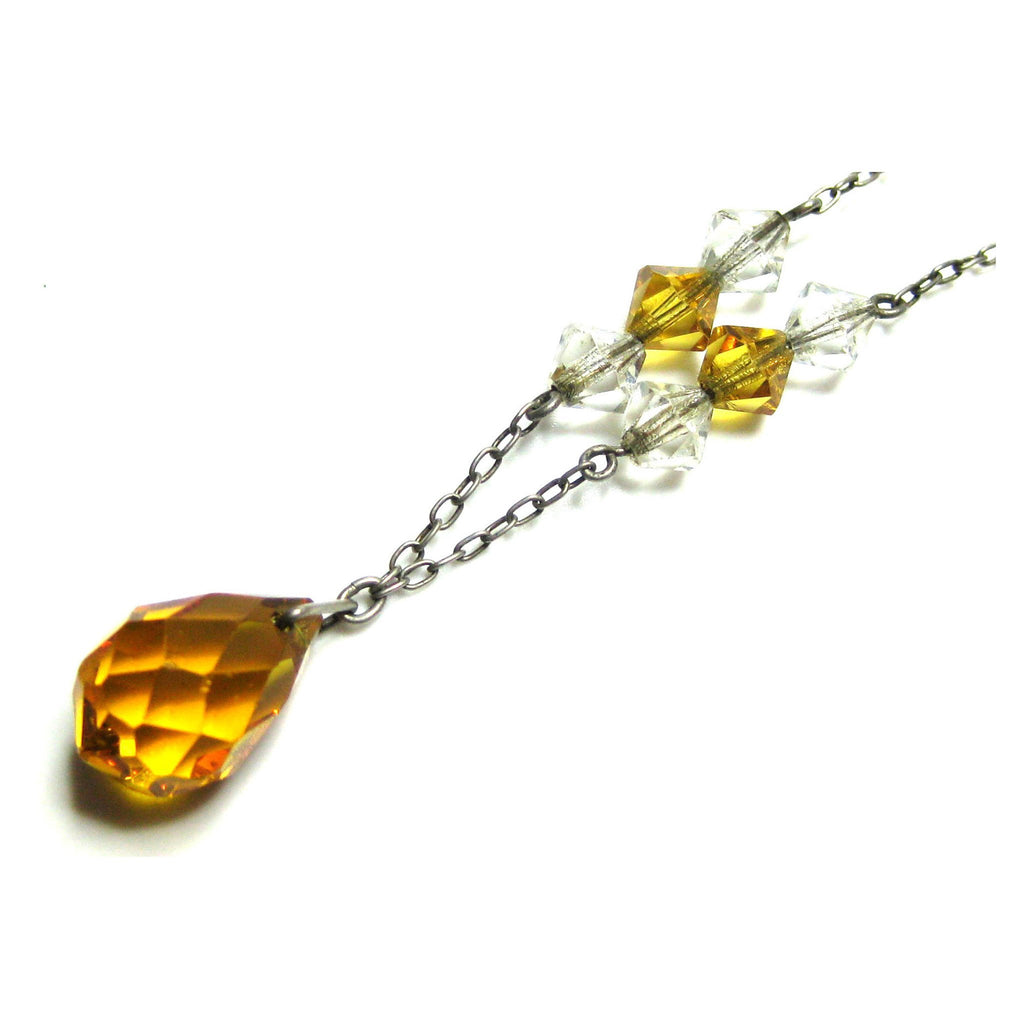 Vintage Art Deco 1930s Amber Glass Necklace