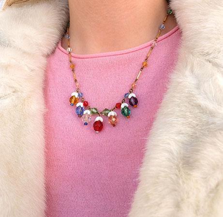 Vintage Art Deco 1930s Coloured Glass Necklace