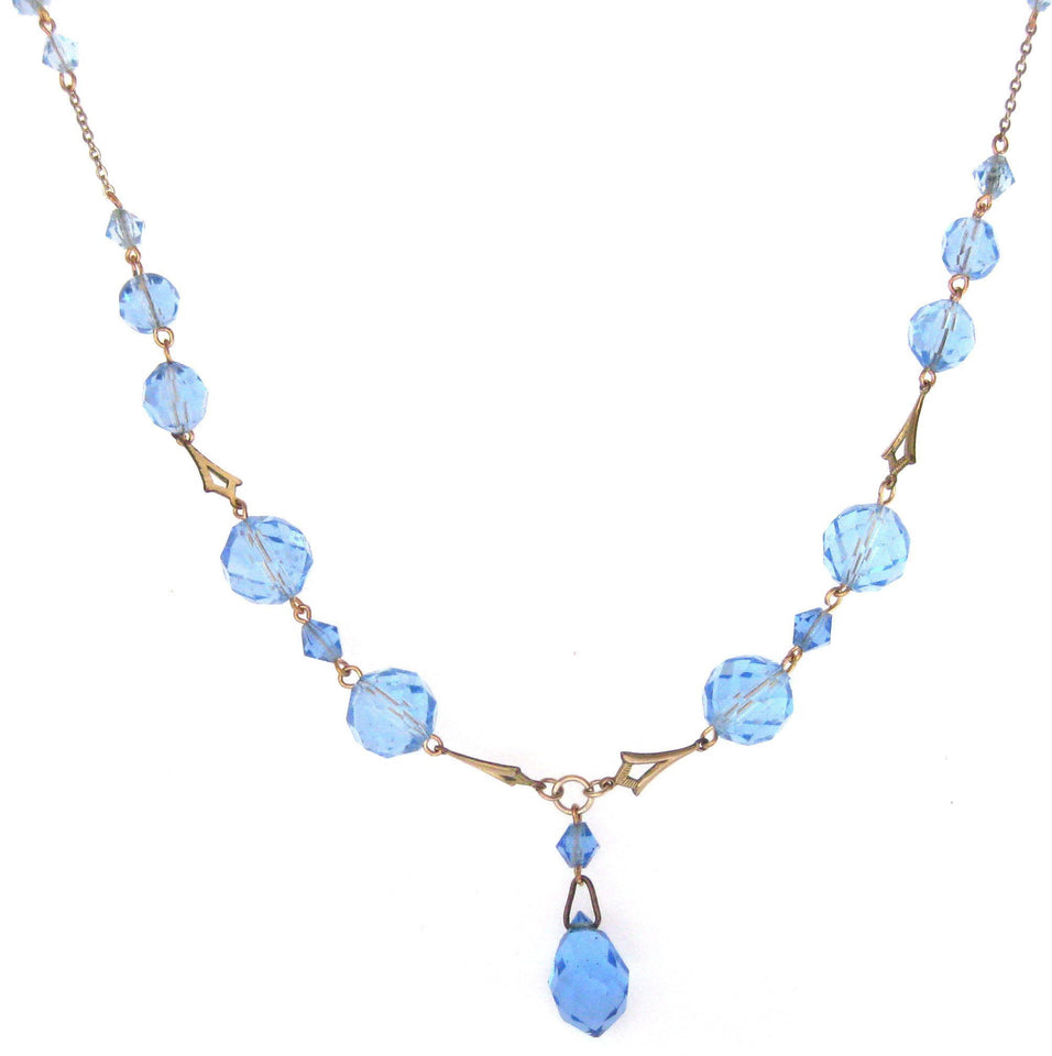 Vintage Art Deco Blue Glass Drop Necklace