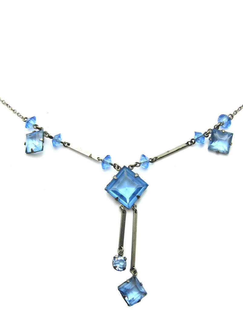 Vintage Art Deco Blue Glass Necklace