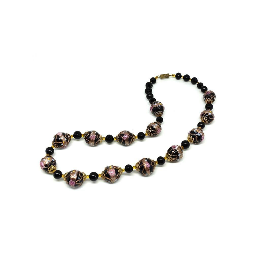 Vintage Art Deco Venetian Black Wedding Cake Murano Glass Beaded Necklace