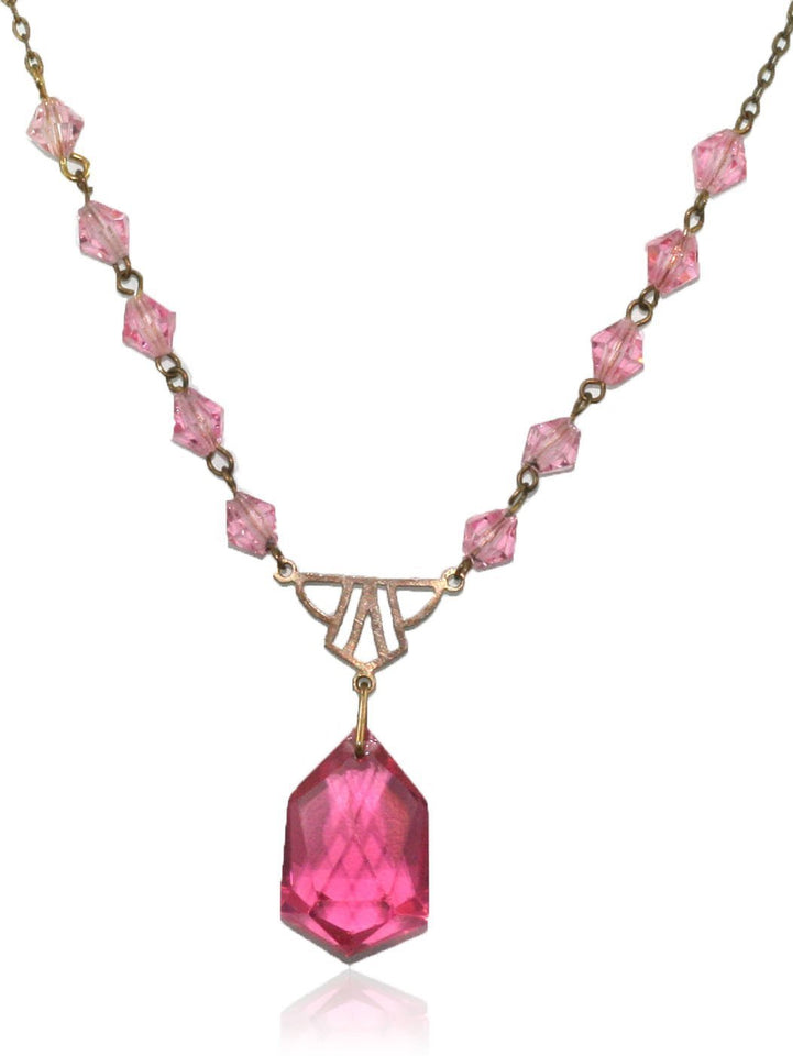 Vintage Pink Art Deco Necklace