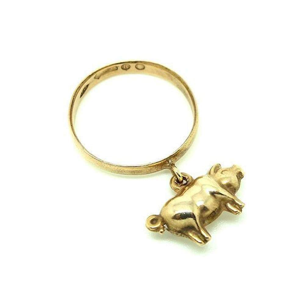 ART DECO Ring Vintage 1920s 9ct Rose Gold Lucky Pig Charm Ring