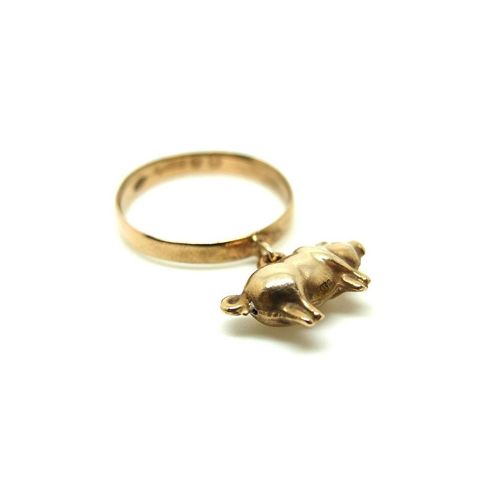 Vintage 1920s 9ct Rose Gold Lucky Pig Charm Ring