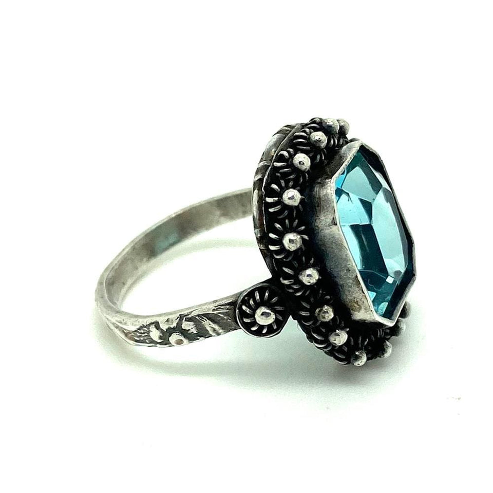 ART DECO Ring Vintage 1920s Art Deco Blue Glass Silver Ring