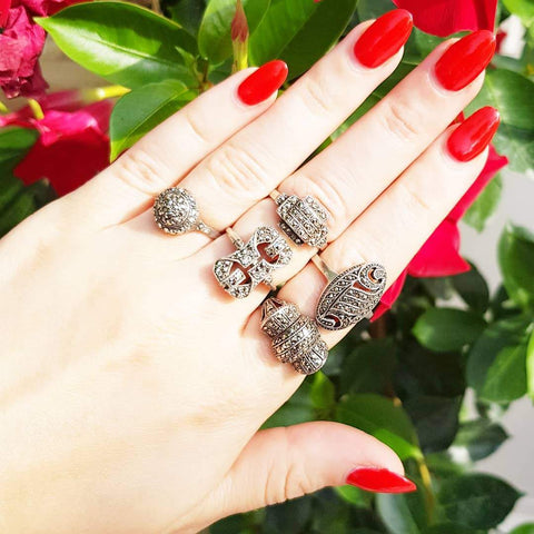 ART DECO Ring Vintage 1920s Art Deco Geometric Silver Marcasite Ring