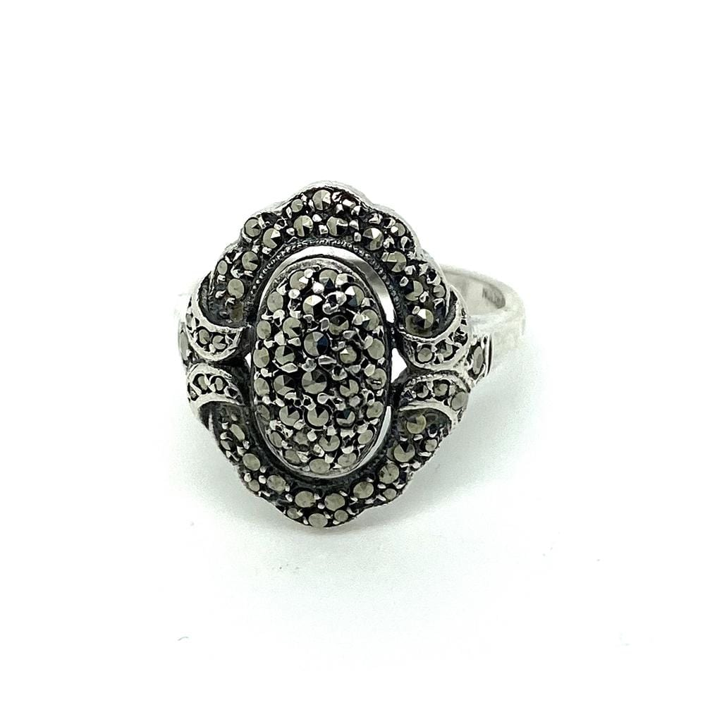 ART DECO Ring Vintage 1920s Art Deco Oval Marcasite Silver Ring