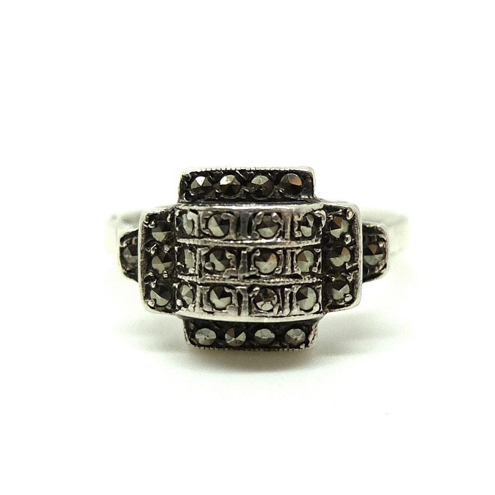 Vintage 1930s Art Deco Marcasite Geometric Silver Ring