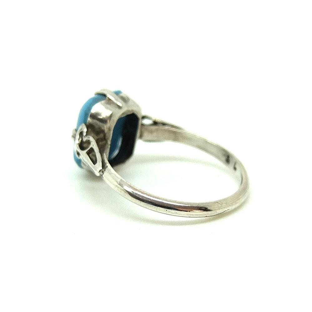 Vintage 1930s Art Deco Turquoise Glass Silver Ring