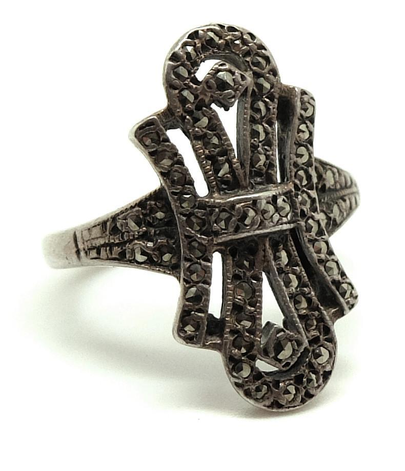 Vintage Art Deco Marcasite Sterling Silver Ring (Size: P)
